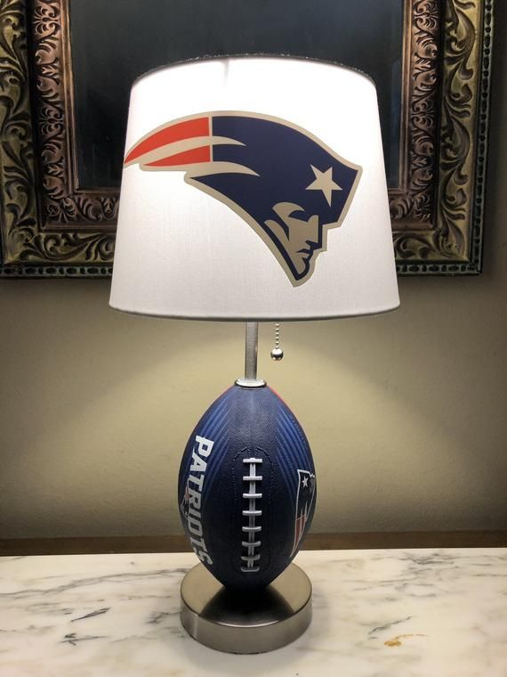 Total Height Of Lamp 19 Inches And The Lampshade Is 10 X 8 With A 7 Inch Slope New England Patriots Football Patriots Football New England Patriots