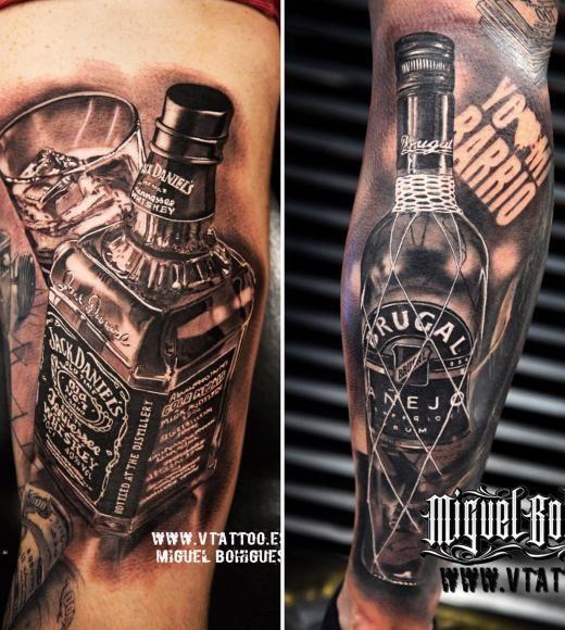 Tatuaje Jack Daniels VS Ron Brugal - Miguel Bohigues - Vtattoo