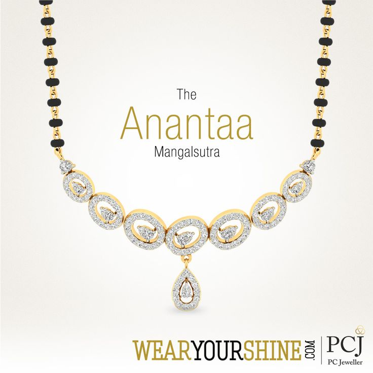 "Mark a wise beginning with the ever-so-charming ""Anantaa Mangalsutra"" by WearYourShine  #Love #Marriage #Wedding #Mangalsutra #jewellery #WearYourShine #Diamond #Gold #NeckPiece #Happiness #PCJeweller"