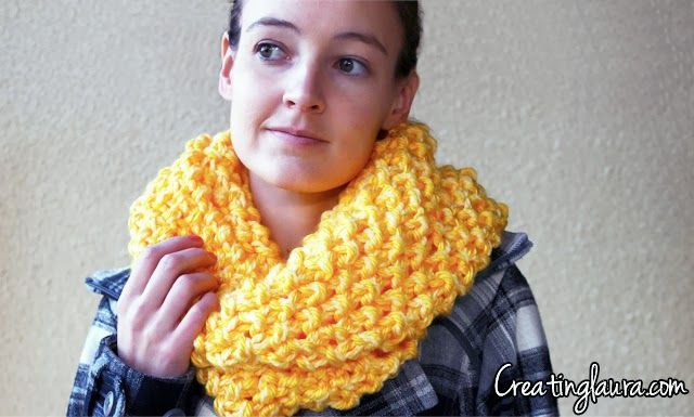 Creating Laura: Infinity Scarf Knitting Pattern      165 yards of super bulky yarn in bright yellow (I used 2 skeins (81 yards each) of Lion Brand Hometown USA Super Bulky Yarn in Pittsburgh Yellow)     165 yards of bulky yarn in light yellow (I used 1 skein (175 yards) of Loops & Threads Charisma Baby medium weight yarn in Yellow)     US Size 19 knitting needles