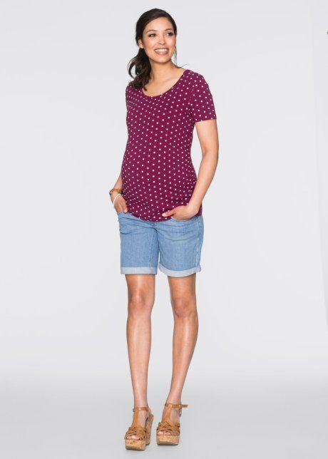 Těhotenské potištěné triko s krátkým rukávem (2 ks v balení), bpc bonprix collection, bobulová s bílými puntíky