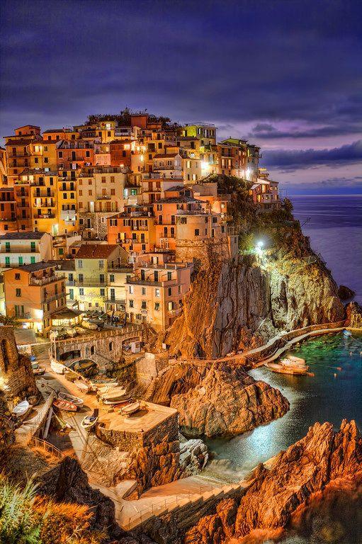 Dusk, Cinque Terre, Italy photo via besttravelphotos