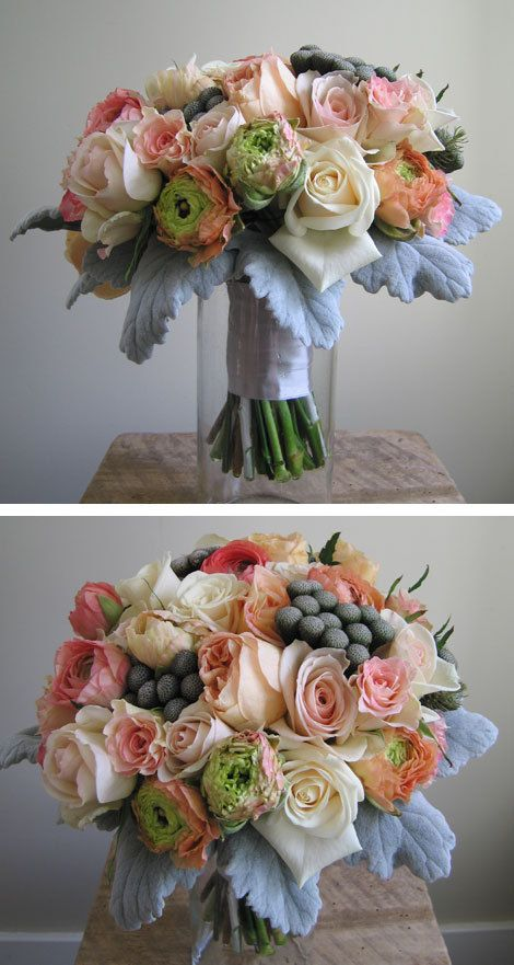 Peach and grey flowers