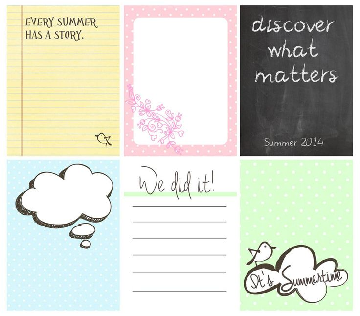 FREE Project Life printable journal cards, perfect for capturing summer memories!