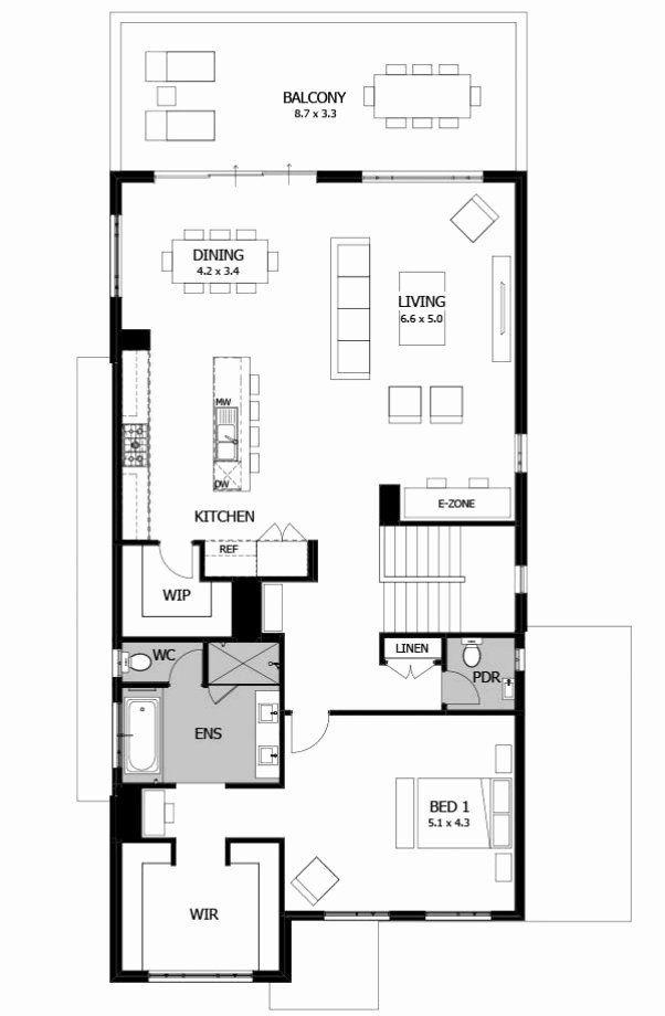Single Story Modern House Floor Plans E Story House Floor Plans Awesome Single Storey Designs In 2020 Narrow House Plans House Floor Plans Contemporary House Plans