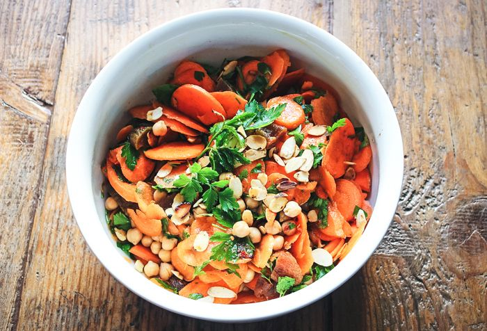 Cumin-spiked Carrot and Chickpea Salad: Heads, Cumin Spiked Carrot ...