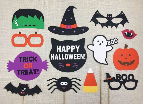 ✦ Halloween Photo Booth Props - Halloween Party Photo Props on Birch Wood Dowels (3/16 x 12) - 13 Piece Set  ✦ This set includes 13 assortment of photo props that are ideal for Halloween Parties!  ● 2 Glasses (6.43-7.25) ● 1 Bat Mask (8.44) ● 1 Vampire Lip (3.5) ● 1 Pumpkin (5.5) ● 1 Ghost (6.5) ● 1 Candy Corn (5) ● 1 Frankenstein Head (6.5) ● 1 Spider (7) ● 1 Bat (8) ● 1 Witch Hat (8.5) ● 1 TRICK OR TREAT! Sign (8.5) ● 1 HAPPY HALLOWEEN! Sign (7.75)  ✦ These props are made with high…