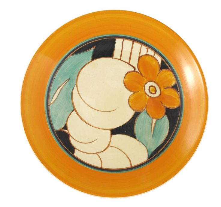 'Floreat' a Clarice Cliff Fantasque Bizarre plate, painted in colours inside an orange band printed factory mark, 23cm. diam.