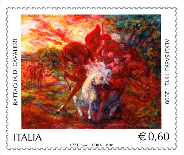 """Emissione di un francobollo ordinario appartenente alla serie tematica """"Il patrimonio artistico e culturale italiano"""" dedicato ad Aligi Sassu, nel centenario della nascita."""