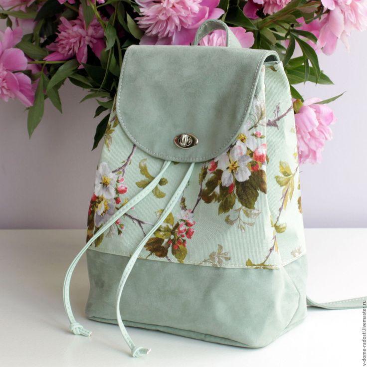 """Купить Мятный рюкзак """"Яблони в цвету"""" (из коллекции Весна в Париже) - мятный, цветочный, рюкзачок"""