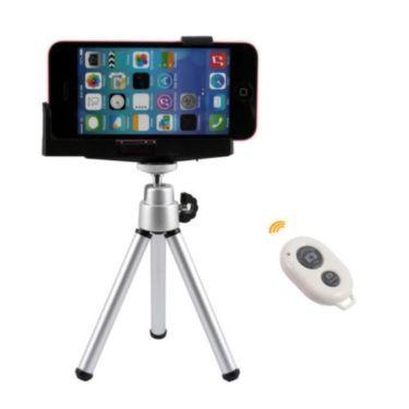 """Dreibein Stativ mit Smartphone L-Form Halterung und Bluetooth Fernauslöser WeißSmartphone- und Kamera-Stativ mit Smartphone Stativ-Halterung und Kamera SelbstauslöserMit dieser verstellbaren Halterung können Sie Ihr Apple iPhone, Ihr Smartphone oder eine kompakte Digitalkamera auf Stativen mit einem 1/4"""" Gewinde befestigen.Mit diesem Bluetooth-Selbstauslöser im Taschenformat, werden Sie nie den Moment für Gruppenfotos verpassen oder Probleme bei der richigen Ausrichtung haben. Es können…"""