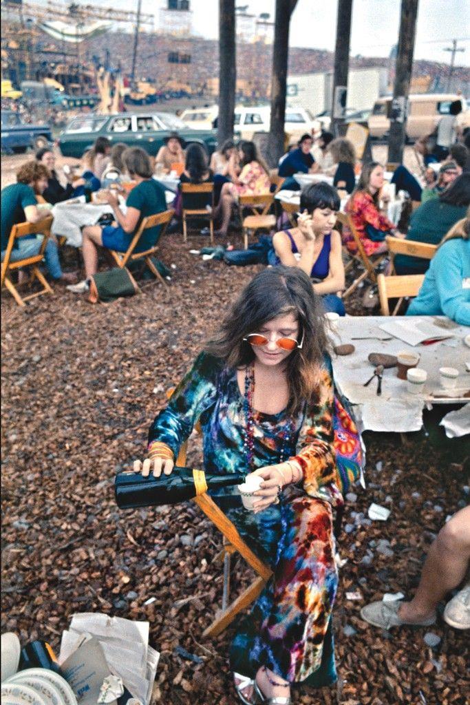 Janis Joplin sipping Veuve at Woodstock