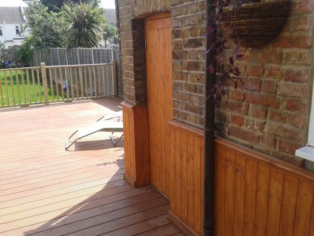 Balustrade and wall panelling fitted to client's existing deck area