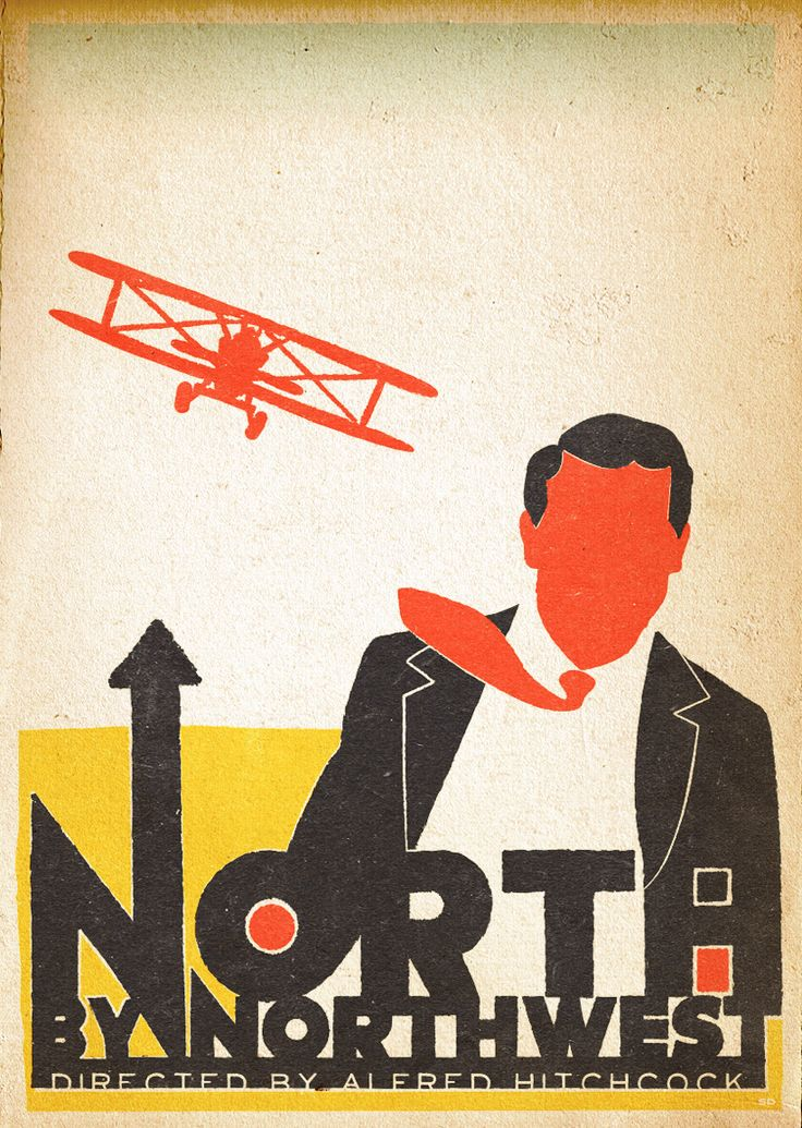 North by Northwest  Vintage film poster by Saul Blass. Screen Print
