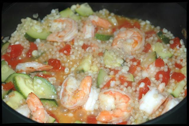 ... in the Kitchen: Israeli Couscous with Shrimp and Summer Vegetables
