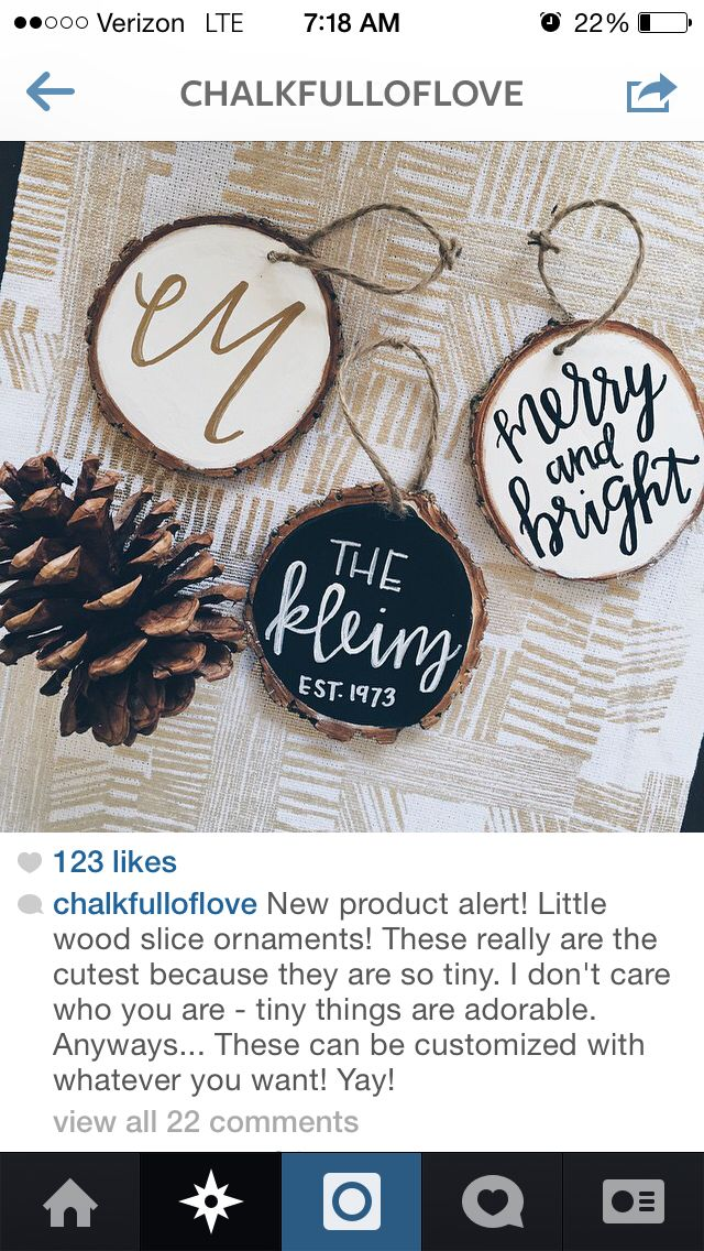 Painted and chalkboard wood slice ornaments