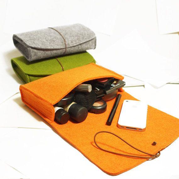 Hardcase Handtasche Kosmetiktasche Filz Taschegrau grün von TopHome