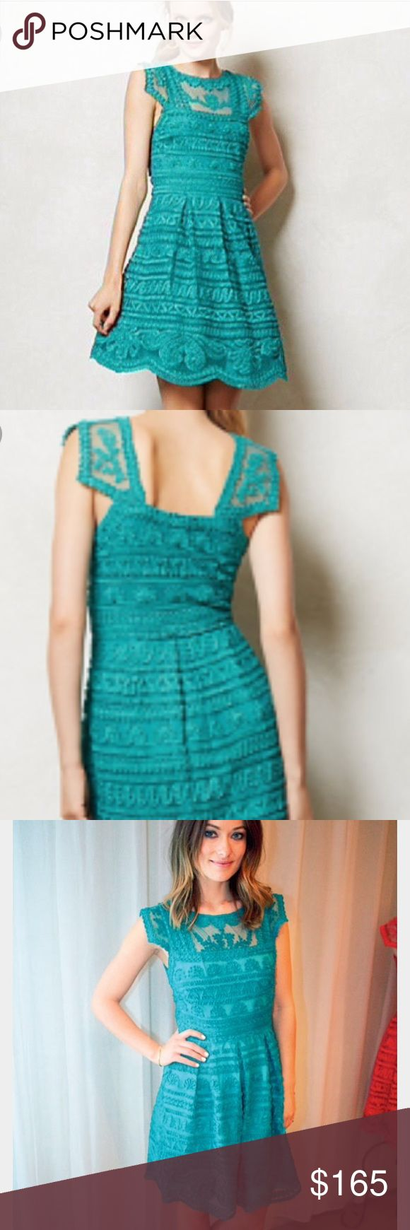 Anthroplogie by Yoana Baraschi turquoise lace dres Beautiful turquoise lace dress, sold out quick and a celebrities favorite. Worn only once. Rare find!! Anthropologie by Yoana Baraschi Dresses