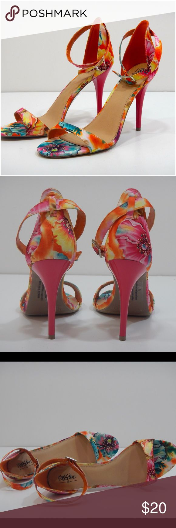 Floral ankle strap sandals - Mossimo Mossimo floral sandals with ankle strap. Only worn once mostly on carpet, just too high for me. Mossimo Shoes Sandals