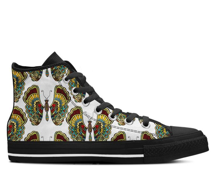 Boho Butterfly Pattern Tribal Colors Womens Shoes. Butterfly PatternHigh Top  ...
