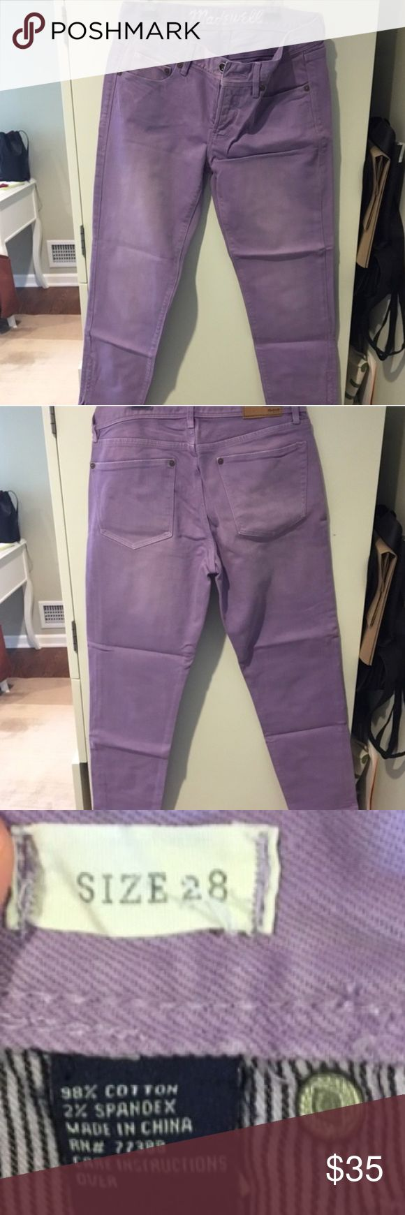 "Madewell Lavender Ankle Zip Jeans REPOSH. Like-new condition. 25"" inseam. (photo cred: gra627) Madewell Jeans Ankle & Cropped"