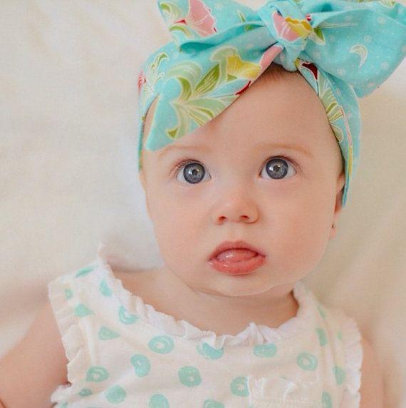 baby headwrap Blue baby girl headwrap toddler by AllureDesignsAU