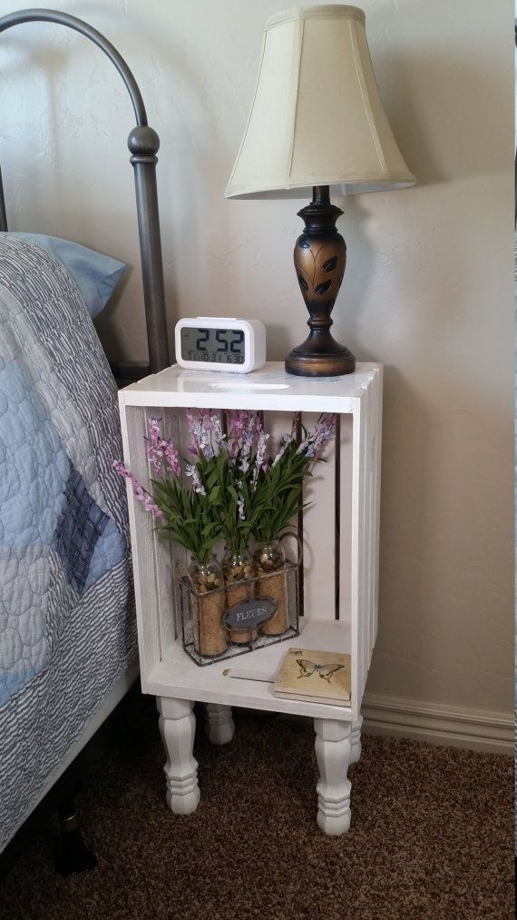 Chalky White Crate Nightstand, Bedside Table, or End Table with legs by Crateyourhome