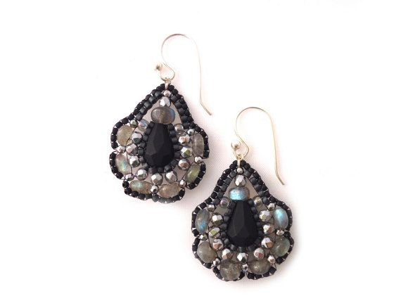Natural Stone Earrings, Exclusive Beaded Jewelry, Black Tassel Chandelier Earrings, Beadwork Seed Beads, Anniversary Gifts for Wife Embellish an already beautiful silhouette with elegant handmade earrings from QJBoutique! All earrings are handmade by me from high-quality Japanese seed