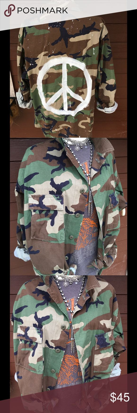 Army jacket reworked! Unique hand painted repurposed army jacket. Men's large worn as a women's oversized. Many uniques ways to wear this great jacket! Jackets & Coats Utility Jackets