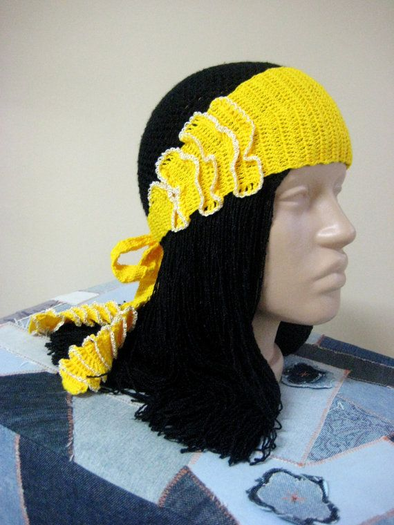 Bohemian Hippie hair band Yellow heandband  by BoryanacrochetBG