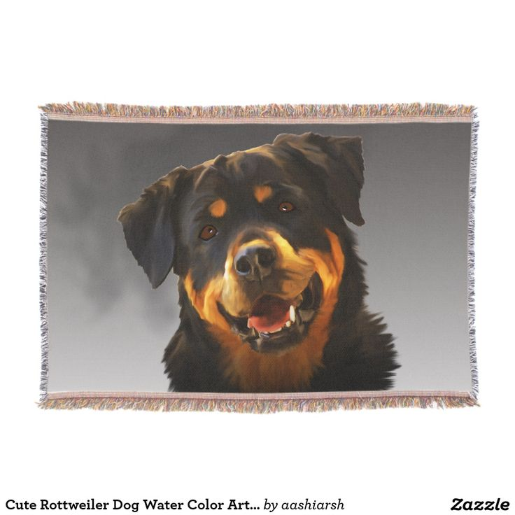 #Cute #Rottweiler #Dog Water Color #Art #Portrait #Throw #Blanket #animal #rottie #pet