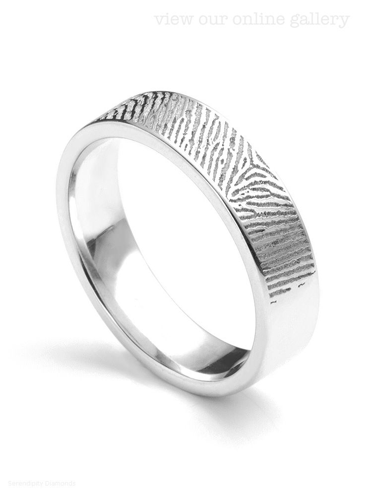 New Flat profile wedding ring with textured fingerprint detail Unique engraving to fully personalise your