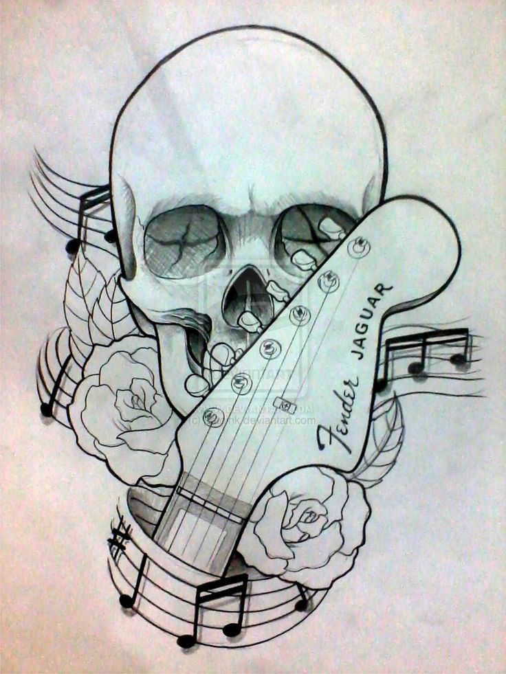 ... roses and guitar by patoink on DeviantArt Skull And Rose Tattoo Sketch