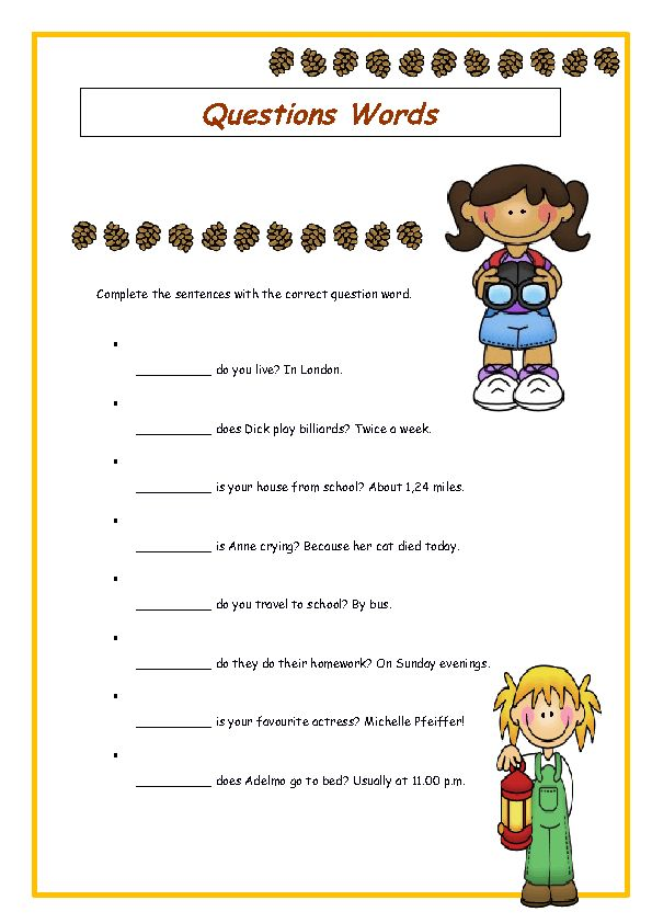 Wh-Question Words Elementary Worksheet