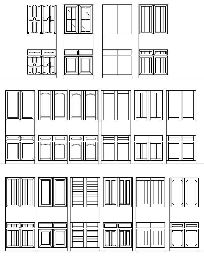 Archblocks autocad cabinet block symbols interiors for Window design elevation