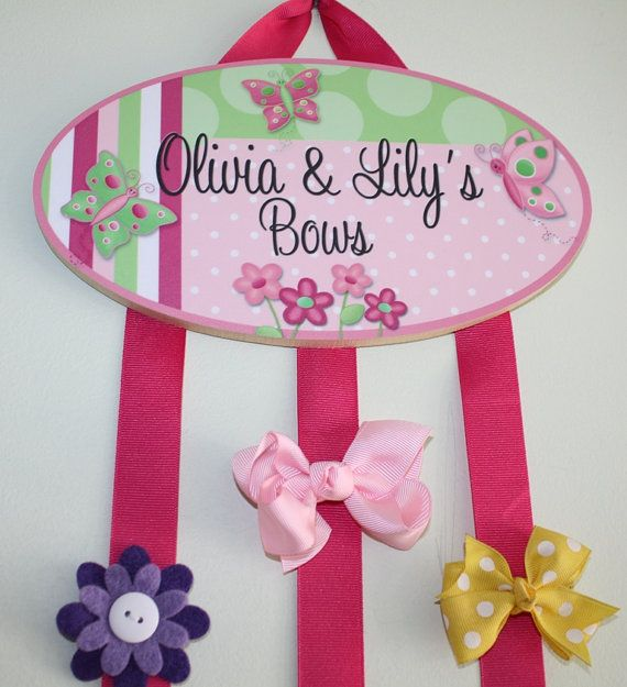 HAIR BOW HOLDER - Personalized Pretty Butterfly HairBow Holder - Bows and Clippies Organizer - Girls Personal Hair Bow and Clip Hanger