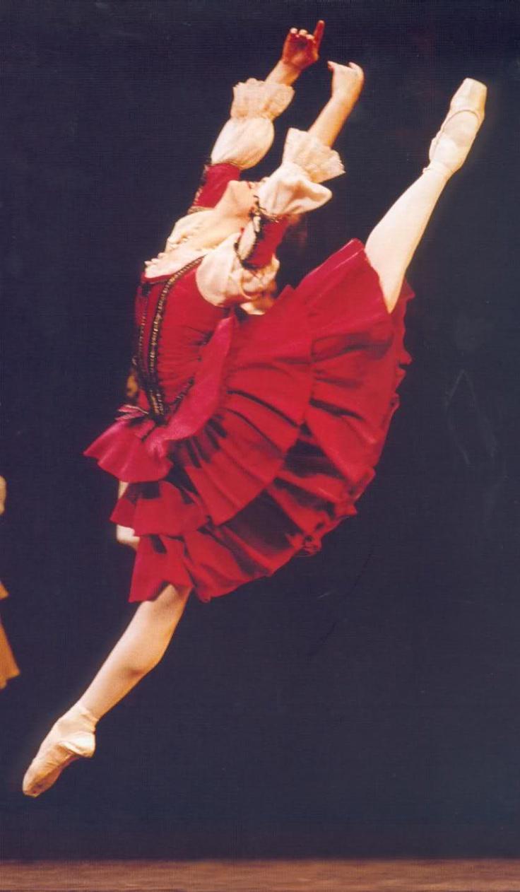 Ballerina. Young flexible female ballerina on pointe , #
