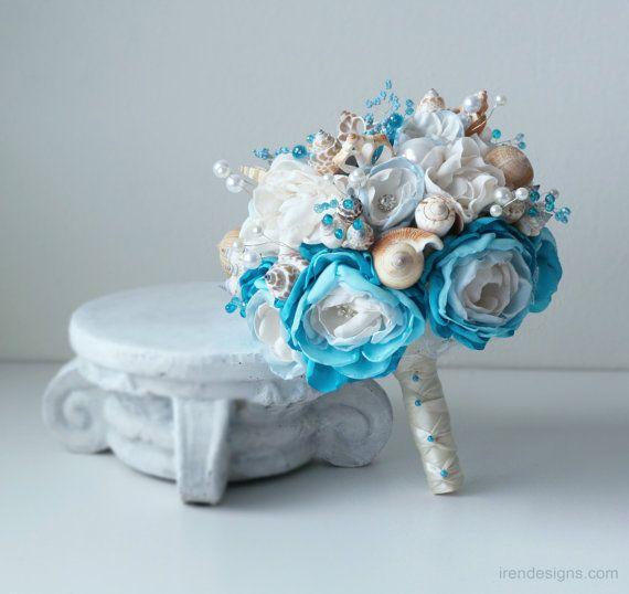 Seashells Wedding Bouquet for Beach Wedding. Blue by IrenDesigns