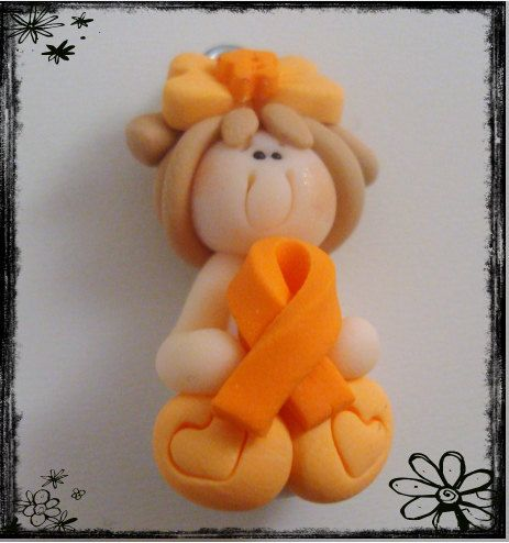 Girl wt Orange Cancer Ribbon Polymer Clay Charm Bead, Would do it with Green