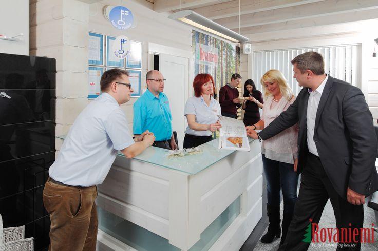 Kieppi –Rovaniemi Log House Head Office. Reception desk and meeting the clients.
