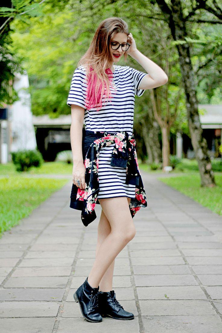 Meninices da Vida: Look Camila Rech: Vestido listrado, floral e coturno: