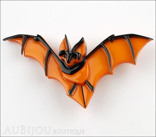 Erstwilder Pin Brooch Bill The Bashful Bat Halloween Orange Front