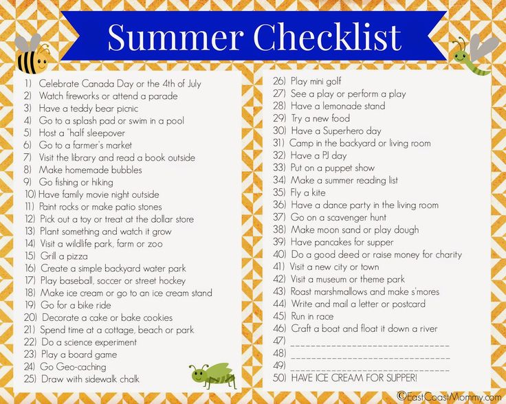East Coast Mommy: Printable Summer Checklist {2014}...A summer checklist is a great way to get everyone in the family excited about summer, and it is a perfect antidote to summer boredom because there is always a new activity or adventure on the list.