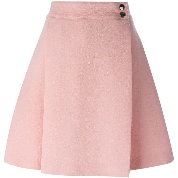 Giamba Buttoned a-Line Skirt ($556) ❤ liked on Polyvore featuring skirts, button skirt, a line skirt, pink a line skirt, knee length a line skirt and giamba