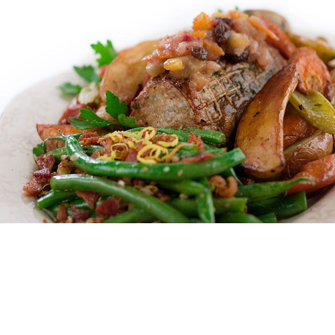 Fall Wedding Entree Ideas: Pork, Apple Slices And Beans
