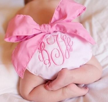 Monogrammed Bow Diaper Cover