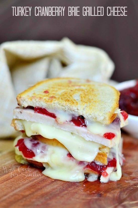 Leftover Turkey Recipe; Turkey Cranberry Brie Grilled Cheese Sandwich