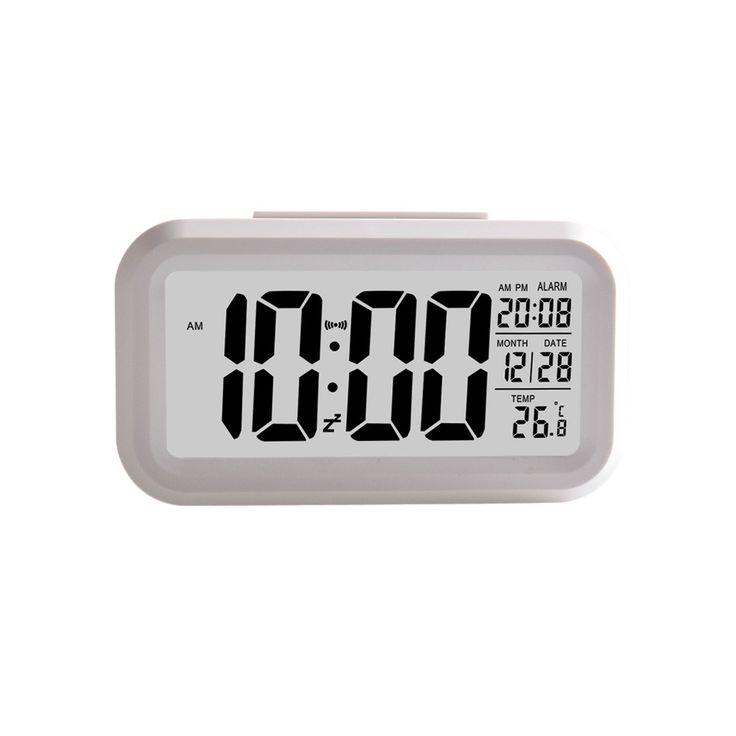 Hot Smart Simple Silent LED DIsplay Alarm Clock Date Display Repeating Snooze Sensor Night Light