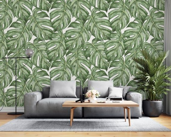 Removable Wallpaper Green Leaf Floral Peel And Stick Wallpaper Wall Mural Reusable Wall Art Self Monkey Mural Home Wallpaper Mural Wallpaper