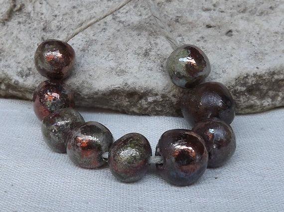 9 Ceramic beads glossy glaze bead raku by BlueBirdyDesign on Etsy, €9.00